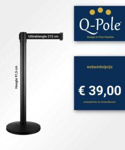 Afzetpaal Q-Pole zwart - lint 2,15 meter
