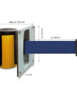 in liner wandhouder model Belt inbouw 300cm blauw
