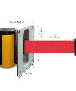 in liner wandhouder model Belt inbouw 300cm rood
