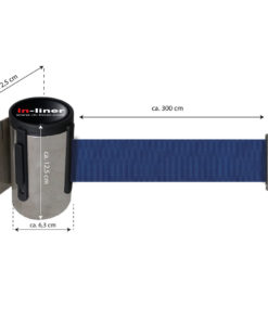 in liner wandhouder model Belt inox 300cm blauw