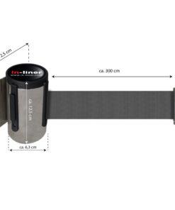 in liner wandhouder model Belt inox 300cm donkergrijs