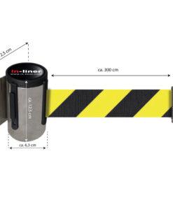 in liner wandhouder model Belt inox 300cm geelzwart