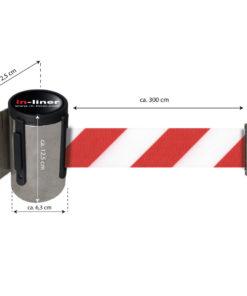 in liner wandhouder model Belt inox 300cm roodwit