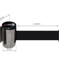 in liner wandhouder model Belt inox 300cm zwart