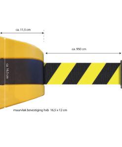 in liner wandhouder model Belt kunststof 950cm geelzwart