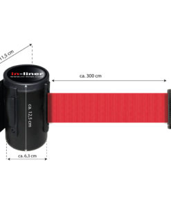 in liner wandhouder model Belt staal 300cm rood