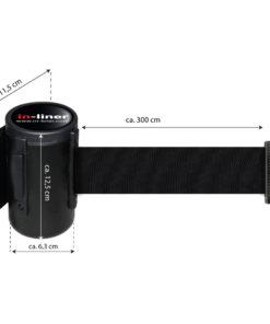 in liner wandhouder model Belt staal 300cm zwart