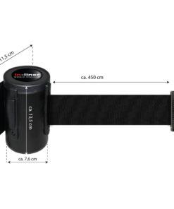 in liner wandhouder model Belt staal 450cm zwart